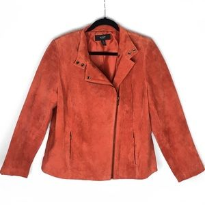 Alfani Orange Suede Zip Up Moto Inspired Jacket